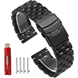 Quick Release Solid Stainless Steel Watch Band Bracelet Strap 18mm/20mm/22mm/24mm Double Locking Clasp for Mens Women