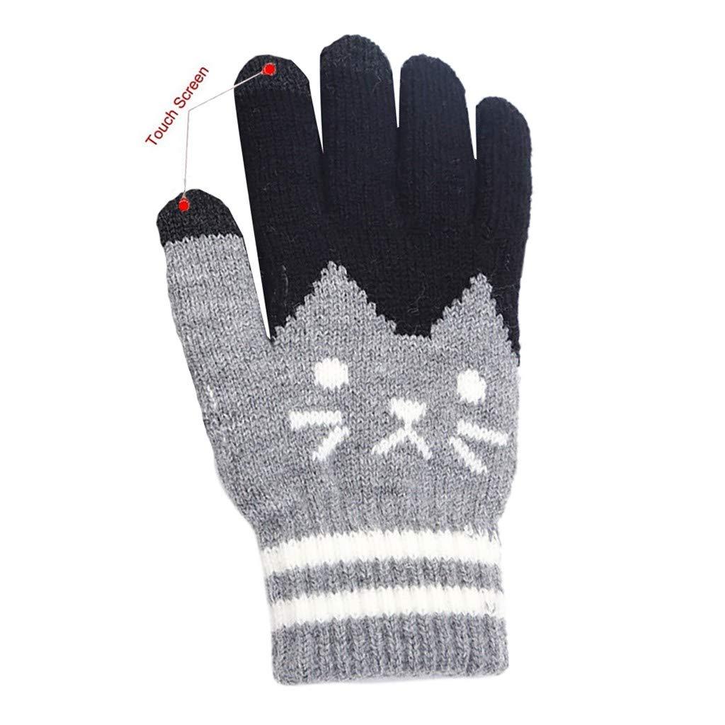 XGao Womens Men Winter Touch Screen Gloves Womens Men Cut Cat Knit Click Screen Fingers Screen Warm Fleece Glove