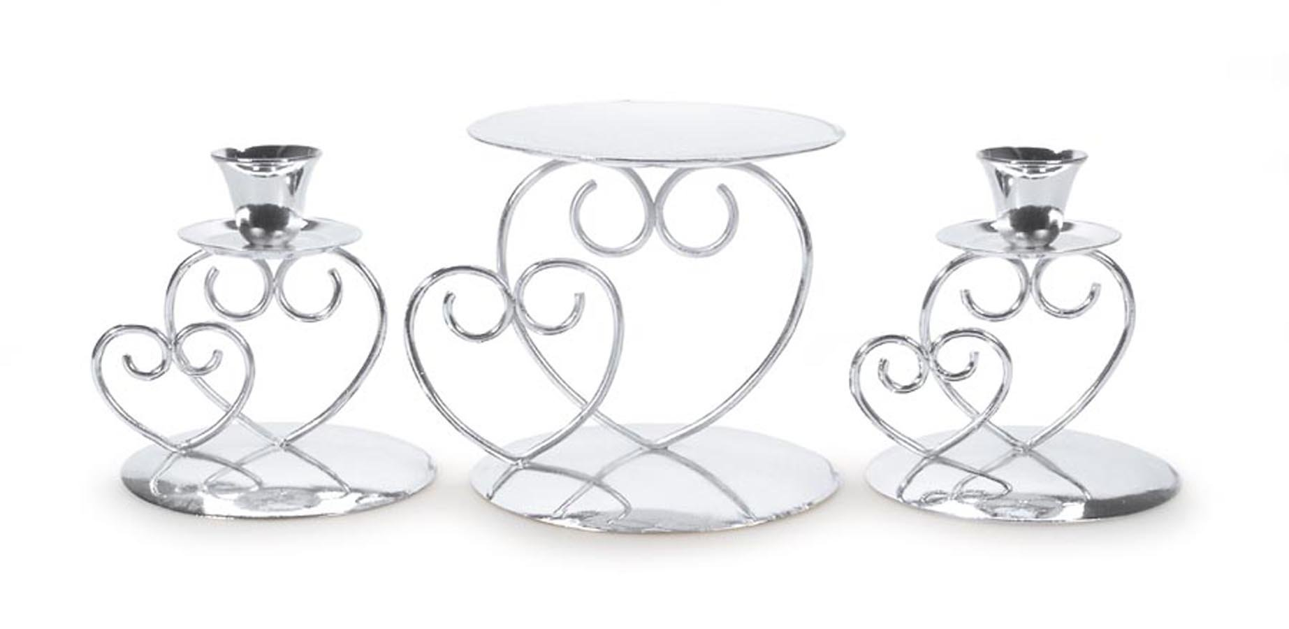 Darice Victoria Lynn Unity Candle Holder 3-Piece Set - Includes 2 Taper Candle Holders, 1 Pillar Candle Holder - Elegant Open Combined Hearts Design - Perfect for Wedding Ceremony, Silver