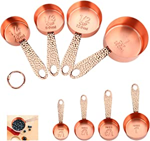 Number-one Copper Stainless Steel Measuring Cups Sets, Rose Gold Set of 4 Stackable Measuring Cups with Measurements Scale, Kitchen Measuring Cups Set for Wet/Dry Ingredients