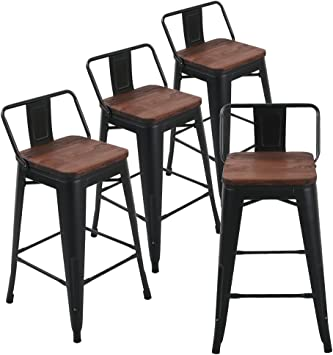Set of 4 Metal Bar Stool 26/'/' Retro Style Bar Chair with Wood Top Seat Silver