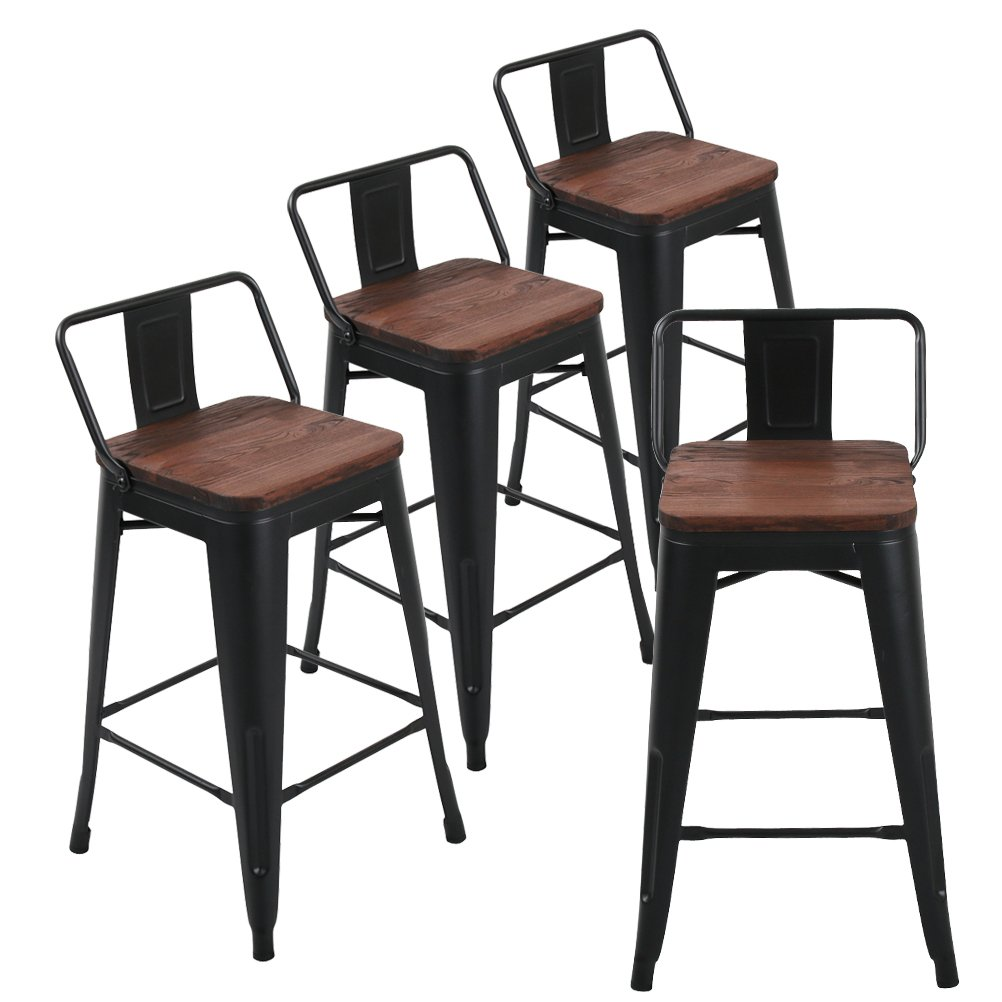 Andeworld Set of 4 Tolix-Style Counter Height Bar Stools Industrial Metal Bar Stools Low Back (26 Inch, Matte Black with Wooden Top) by Andeworld
