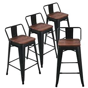 Andeworld Set of 4 Tolix-Style Counter Height Bar Stools Industrial Metal Bar Stools Indoor-Outdoor, Low Back (26 Inch, Matte Black with Wooden Top)