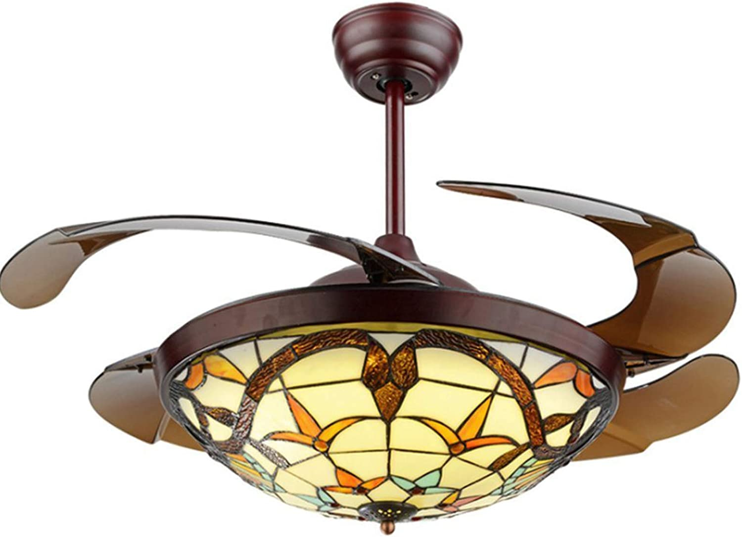 """Panda Lighting Tiffany Style Ceiling Fan with Light Indoor, Retractable Blades LED Chandelier Fan, 3 Color/3 Speed Classic Ceiling Fans Lighting Fixture with Remote Control for Dining Living Room 42"""""""