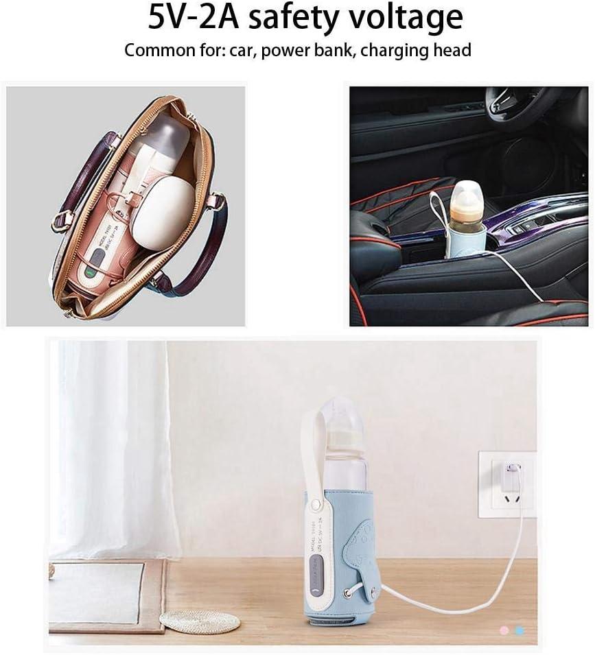 termostato de carga USB PPSU Calentador de botellas Mantener la leche o el agua caliente azul MFS Sistema del term/óstato del biber/ón Sistema de calentamiento universal port/átil