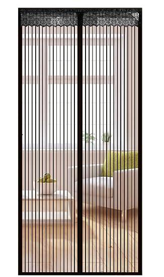 Liveinu Fliegengitter Tür Insektenschutz Magnet Fliegen Gitter Vorhang  Fliegenvorhang Für Balkontür Wohnzimmer Schwarz 70x210cm