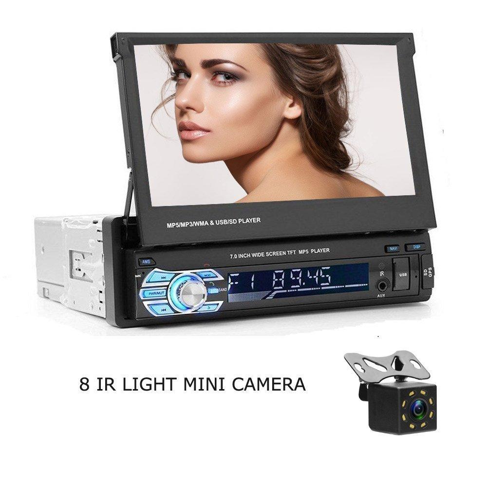 Camecho 7 'pantalla tÁ ctil reproductor de coche 1 DIN EN Dash unidad principal Bluetooth Radio MP5 + 8 IR CCD Mini cá mara para coche Icamecho M1520C101