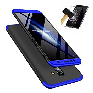 wholesale dealer a1074 150e2 Samsung Galaxy J6+/J6 Plus (2018) Case with tempered glass, MISSDU Slim  Shockproof PC 360 degree Hard Protective Back Cover - Black blue