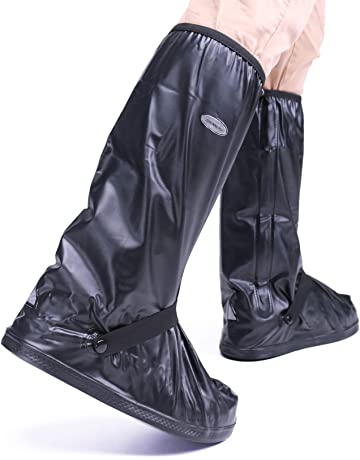58f975d99c ARUNNERS Black Motorcycle Rain Boots Covers Cycling Shoes Gear Men (High