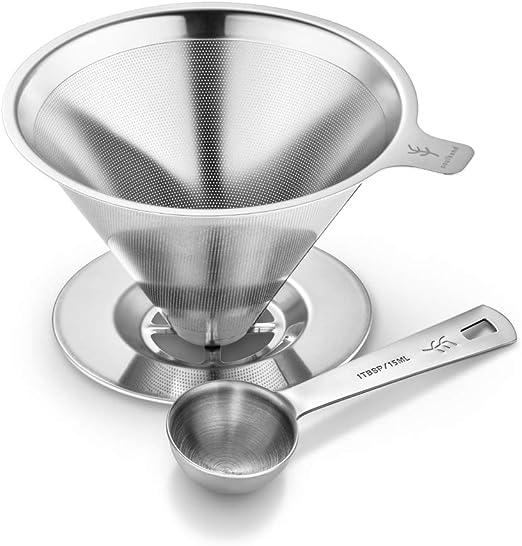 Filtro de Café Cono Reutilizable de Acero Inoxidable Filtro sin Papel Cafetera y Filtro de Café de Acero: Amazon.es: Hogar