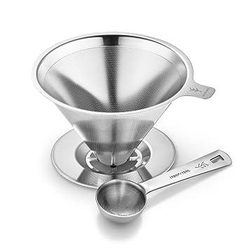 Filtro de Café Cono Reutilizable de Acero Inoxidable Filtro sin Papel Cafetera y Filtro de Café de Acero