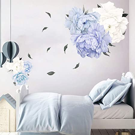 PandaLily Wall Stickers /& Murals Home D/écor Removable Peony Flower Wall Sticker Living Room Wallpaper Decal Home Art Decor