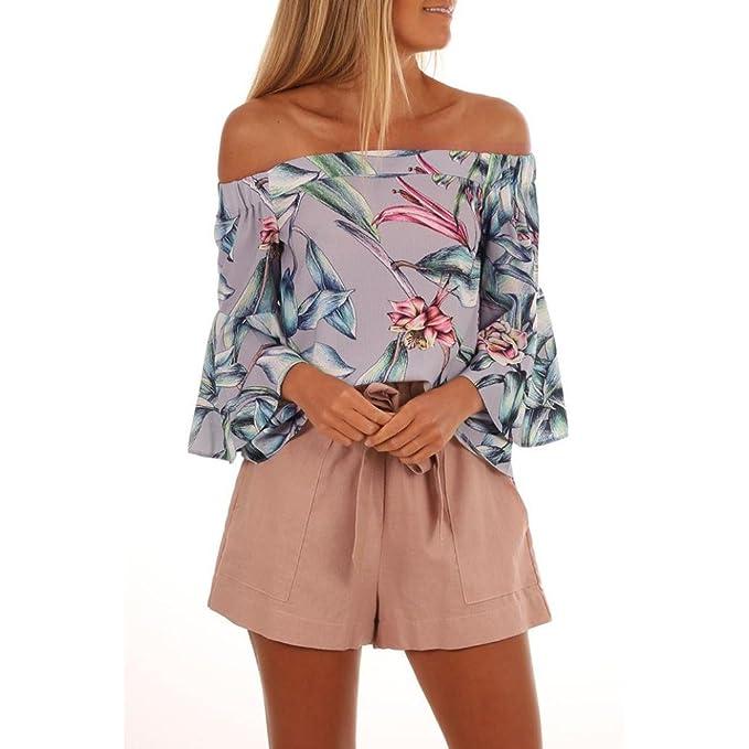 Mujer Blusa Estampada Floral con Hombros Descubiertos para Mujer Tops/Mujeres Tops Abrigos y Chaquetas