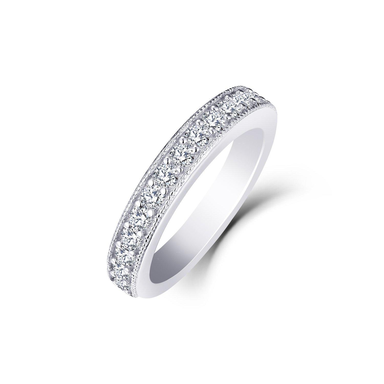 0.53 Carat Prong Set Diamond Wedding Band Ring in 10K White Gold Size7 by JO WISDOM (Image #3)