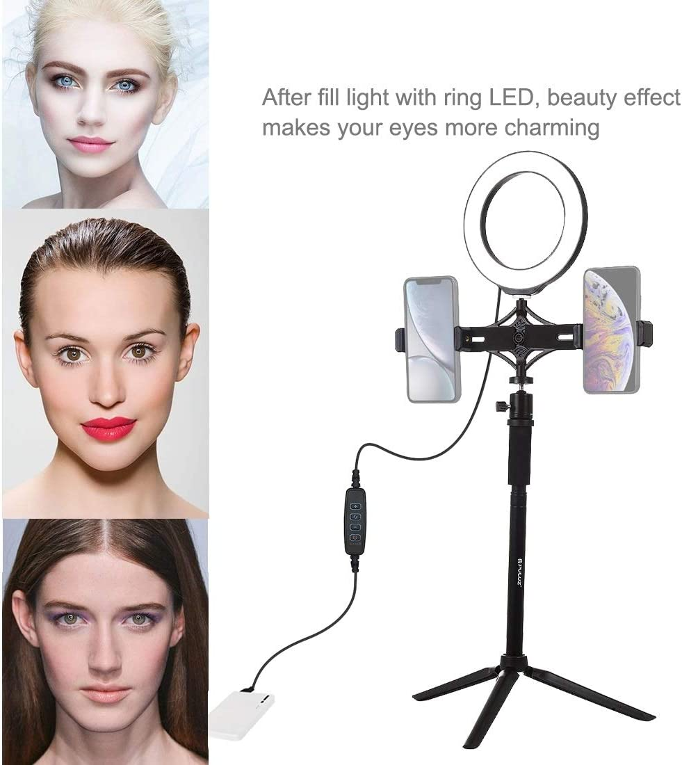 XIAOMIN Tripod Mount Extension Rod Live Broadcast Dual Phone Bracket 6.2 inch LED Ring Vlogging Video Light Kits Premium Material