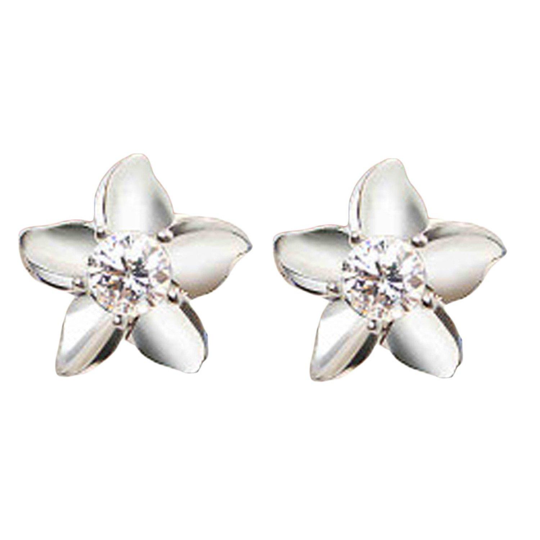 QIANNVSHEN New Fashion Jewelry Silver Color Crystal Rhinestone Shine Flower Ear Stud Earrings