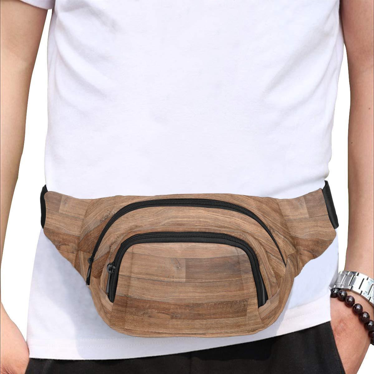 Old Grunge Dark Textured Wooden Fenny Packs Waist Bags Adjustable Belt Waterproof Nylon Travel Running Sport Vacation Party For Men Women Boys Girls Kids