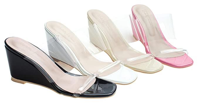 fed415d9f Amazon.com | AnnaKastle Womens Transparent Clear Strap Wedge Heel Mule  Sandals | Sandals