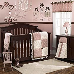 CoCaLo Daniella 8 Piece Crib Bedding Set, Pink and White