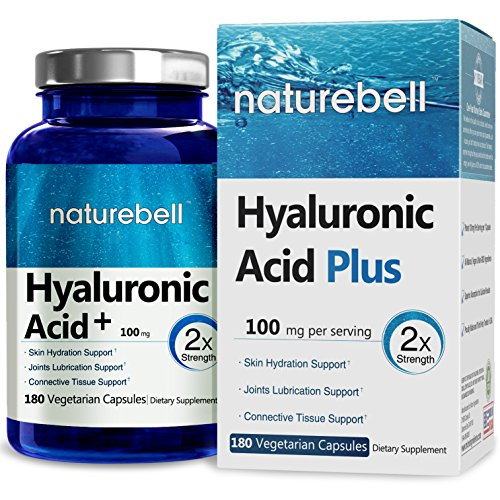 NatureBell Hyaluronic Acid Plus, 100mg, 180 Veg Capsules, Made in USA, Support Skin Hydration & Joints Lubrication