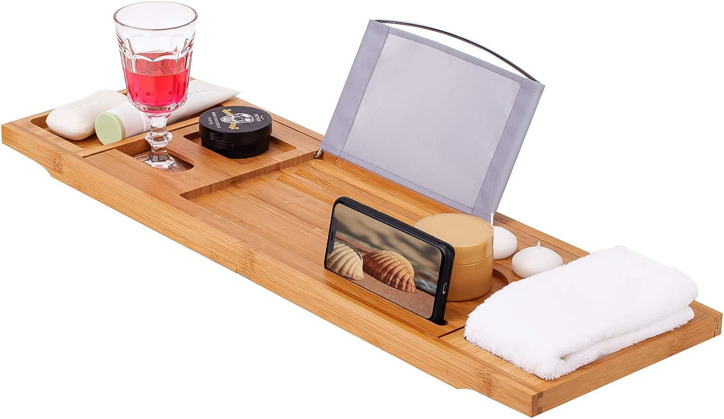 Bath Tray for Tub – Bathtub Tray Extendable to Fit Most Size Bathtubs Caddy– Wooden Bathroom Tray to Hold Tablet, Candles, Drinks, Snacks – Tray Table Shelf for Bathtub – Tub Tray Accessories