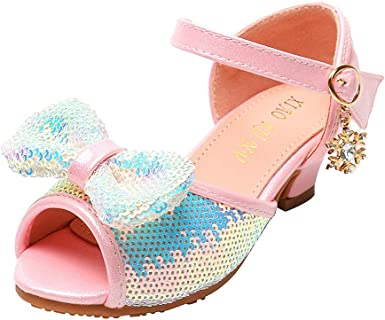 ❤️Rolayllove❤️ Toddler Kids Baby Girls Bowknot Bling Sequins Single Princess Shoes Sandals Girls Glitter Rhinestone Open Toe Low Heel Sandals
