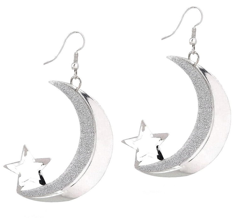 "2.5"" Crescent Half Moon & Star Silver Tone Shiny & Brushed Satin Texture Dangle Drop Half Hoop Earrings"