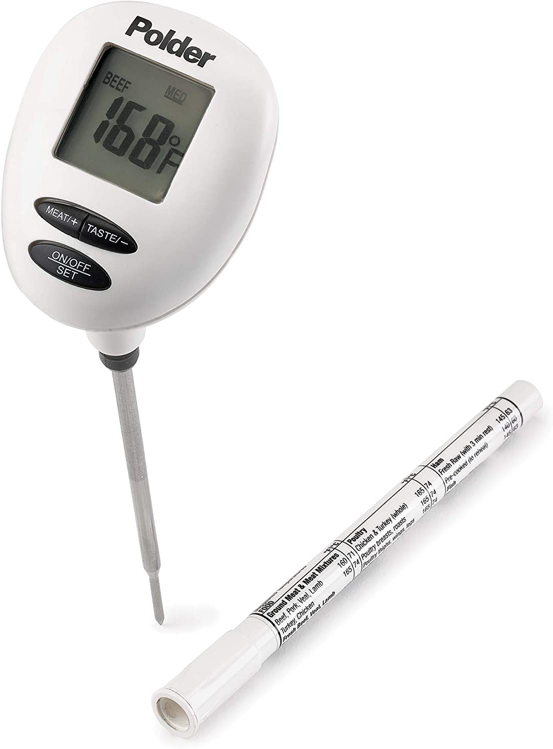 Polder Safe Serve Digital Instant Read Thermometer with 6 Preset temperatures