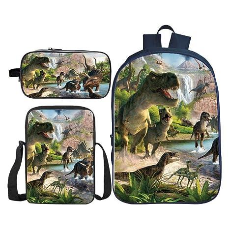 Mochilas infantiles Dinosaurio 3D Imprimió Confort transpirable, Mochila escolar set Para Niños Mochila+ Caja Almuerzo+Estuche Para Lápices,Ocio ...
