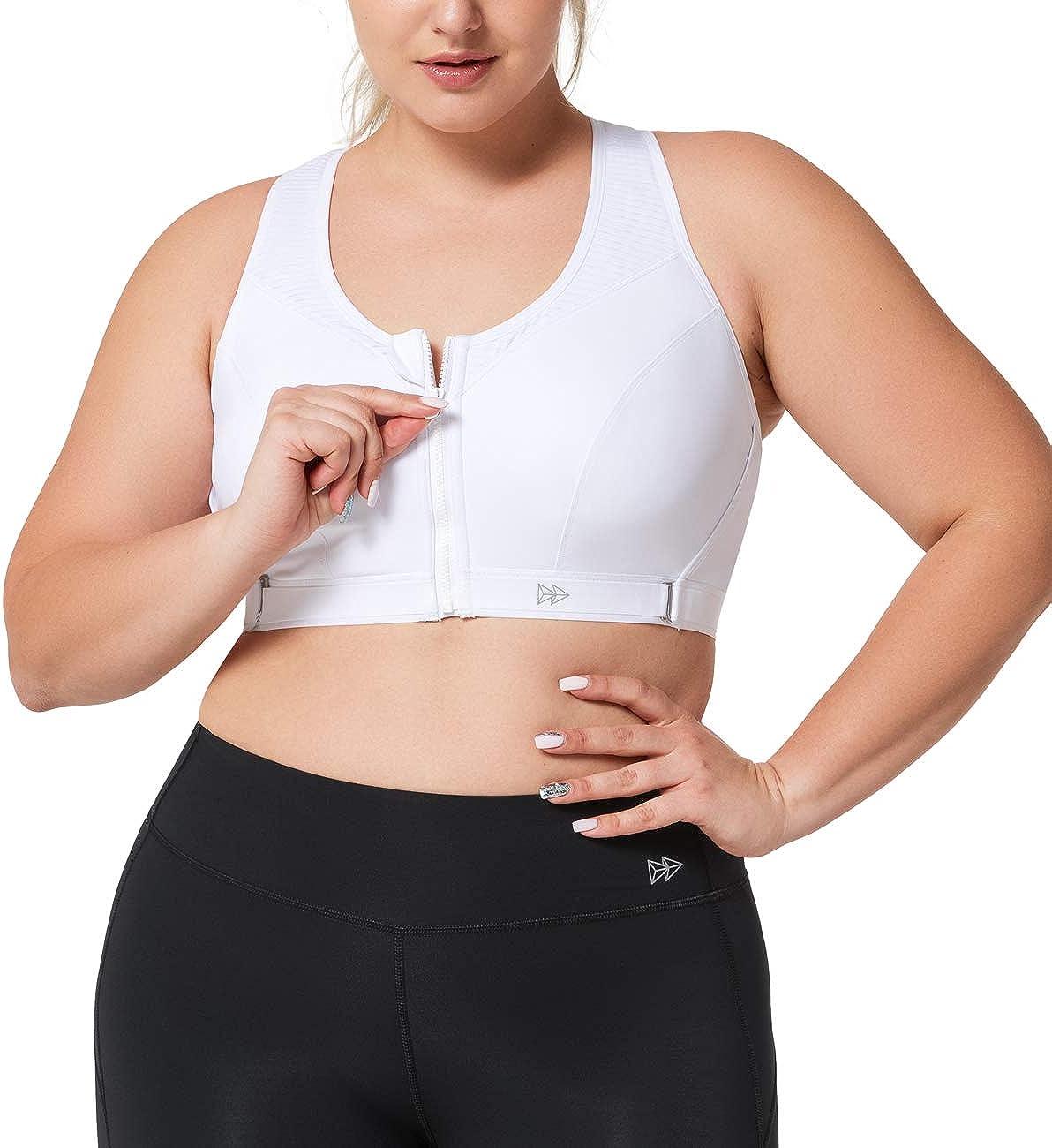 Yvette Women Plus Size High Impact Adjustable Straps Sports Bra