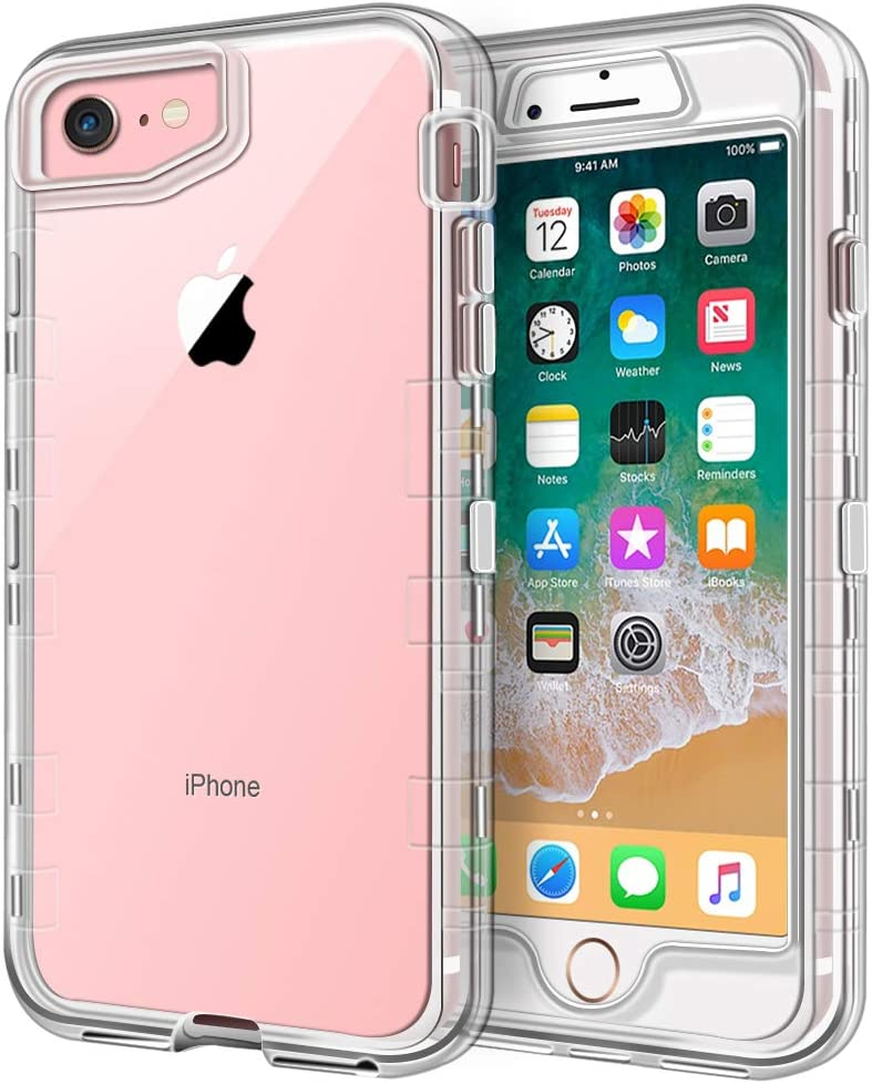 iPhone 8 Case, iPhone SE Case, Anuck 3 in 1 Heavy Duty Defender Shockproof Full-Body Clear Protective Case Hard Plastic Shell & Soft TPU Bumper Cover for Apple iPhone 7/8/SE 4.7 inch - Crystal Clear