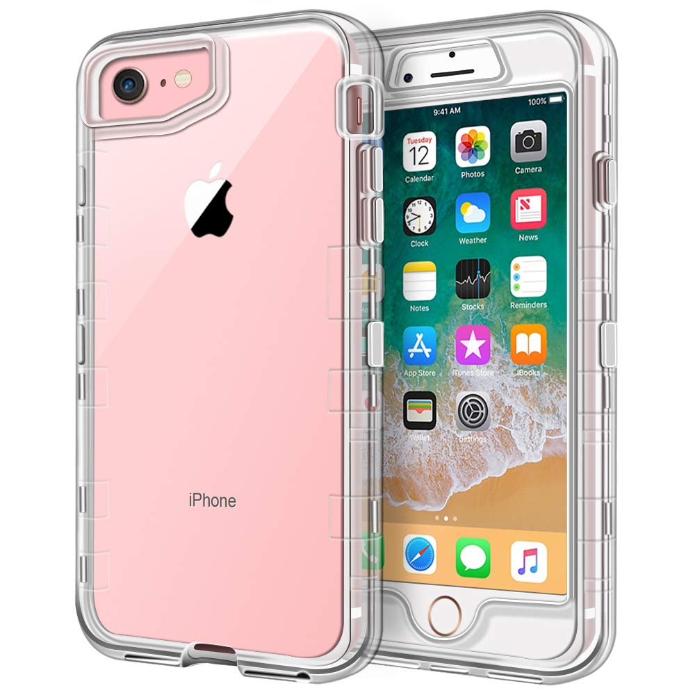 Anuck Case for iPhone SE 2020, iPhone 8 and iPhone 7, (4.7 inch), 3 in 1 Heavy Duty Defender Shockproof Full-Body Clear Protective Case Hard Plastic Shell & Soft TPU Bumper Cover, Crystal Clear