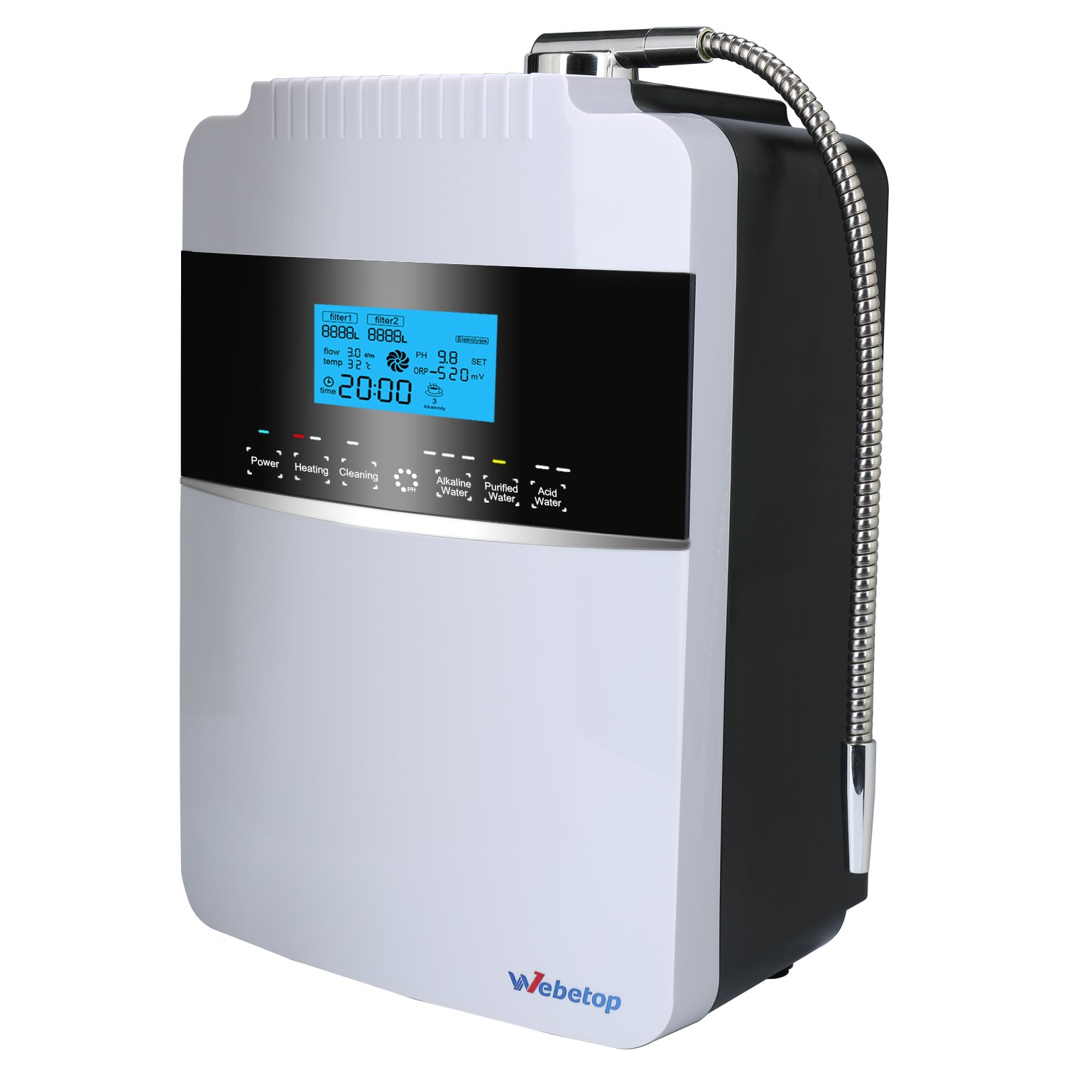 Webetop Water Ionizer Filtration Machine with Dual Internal Water Filters/ Produces pH 2.5-11.2 Alkaline Water/ Up to -800mV ORP/ 8000 Liters Per Filter/ 6 Water Settings/ Auto-Cleaning