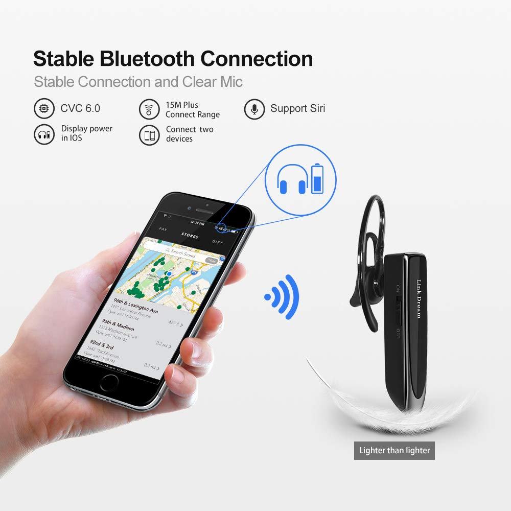 Bluetooth Earpiece Link Dream Wireless Headset with Mic 24Hrs Talktime Hands-Free in-Ear Headphone Compatible with iPhone Samsung Android Smart Phones, Driver Trucker (Black) by Link Dream (Image #4)