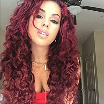 ATWIGS Afro Sintético Kinky Rizado Cabello Pelucas para Negro Mujer Vino  Rojo Rizado Africano Americano Largo 8b73f1ea6167
