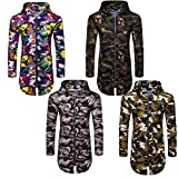 Winsummer Men's Camouflage UPF 50 Sun UV Protection Long Sleeve Hooded T-Shirt For Work Travel Thin Suntan-Proof Pullover