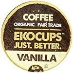 EKOCUPS Organic Artisan Coffee, Vanilla, Medium roast for Keurig K-cup single serve Brewers, 0.5 Ounce, 10 count by Crazy Cups