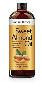 Natural Riches Sweet Almond Oil Cold Pressed, Triple A Grade , Pure and Natural Hexane free Soothing Vitamin E Oil for Skin & Face, Facial Polish, Full Body Massages, DIY Base Grown in USA 16 FL oz.