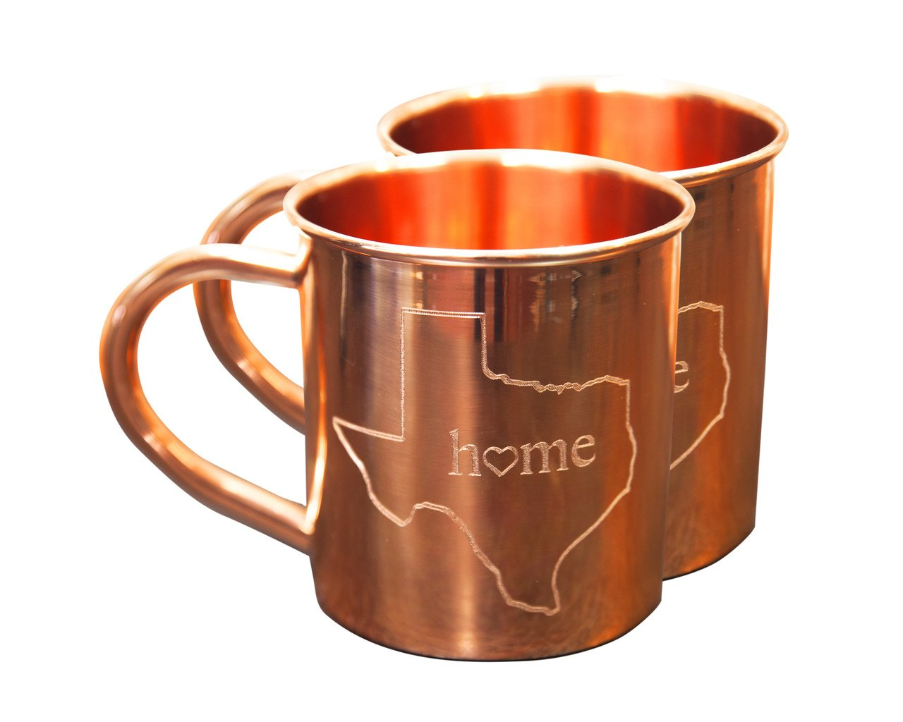Home State Copper Mugs for Moscow Mules - Texas Mug - 100% Pure Copper Mug - Best For Moscow Mule Lovers - Set of 2 Copper Cups - 14 oz Size By Alchemade