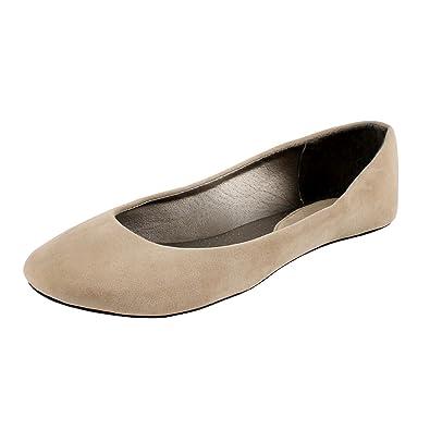 West Blvd Womens BALLET Flats Slip On Shoes Ballerina Slippers, Beige Suede,  US 5