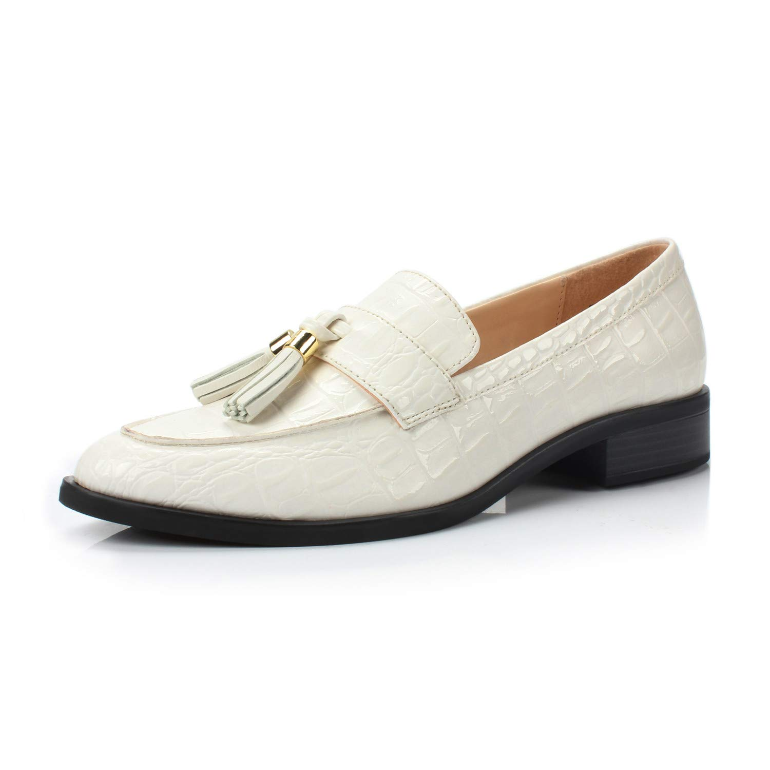 Bertha White Stone DUNION Women's Brandon Chain Decorated Penny Loafers Low Heels Almond Toe Casual Daily shoes