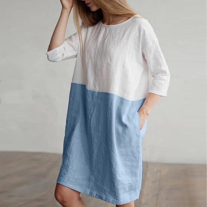 Overdose Women Half Sleeved O-Neck Casual Patchwork Cotton Linen Comfortable New Vacation Tracksuit Oversize Loose Pockets Tunic Dress: Amazon.es: Ropa y ...
