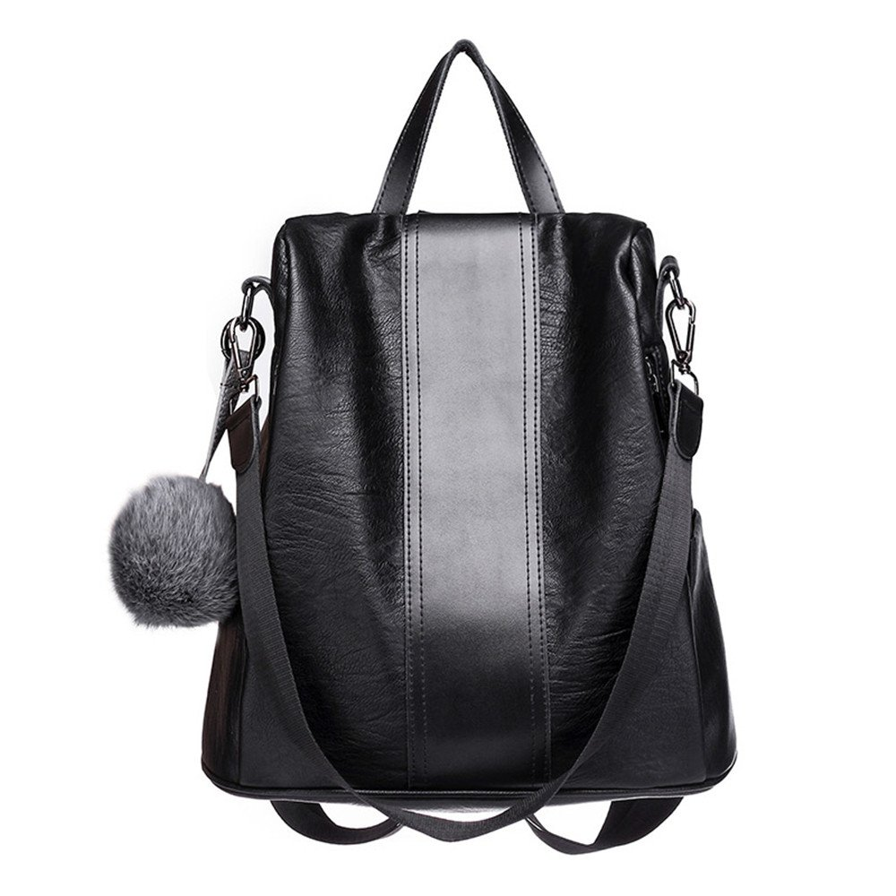 SJMMBB Fashion Casual WomenS Bag Soft Leather Large Capacity Multi-Function Travel Backpack,Black,31X29X14Cm