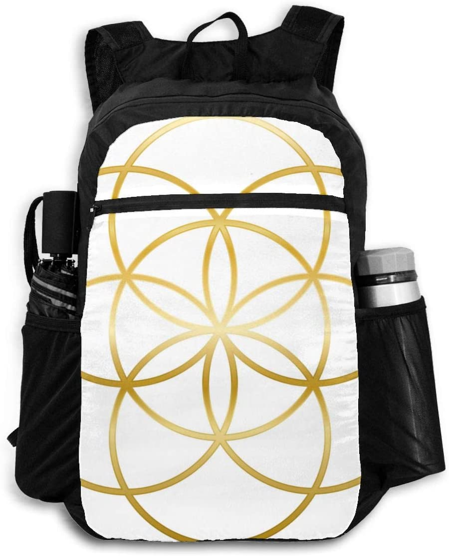 Packable Backpack Gold Seed Life Precursor Flower Abstract Place Mat Men Perfectly Laptop Daypacks for Travel Womens Hiking Daypack Lightweight Waterproof Travel Camping Outdoor