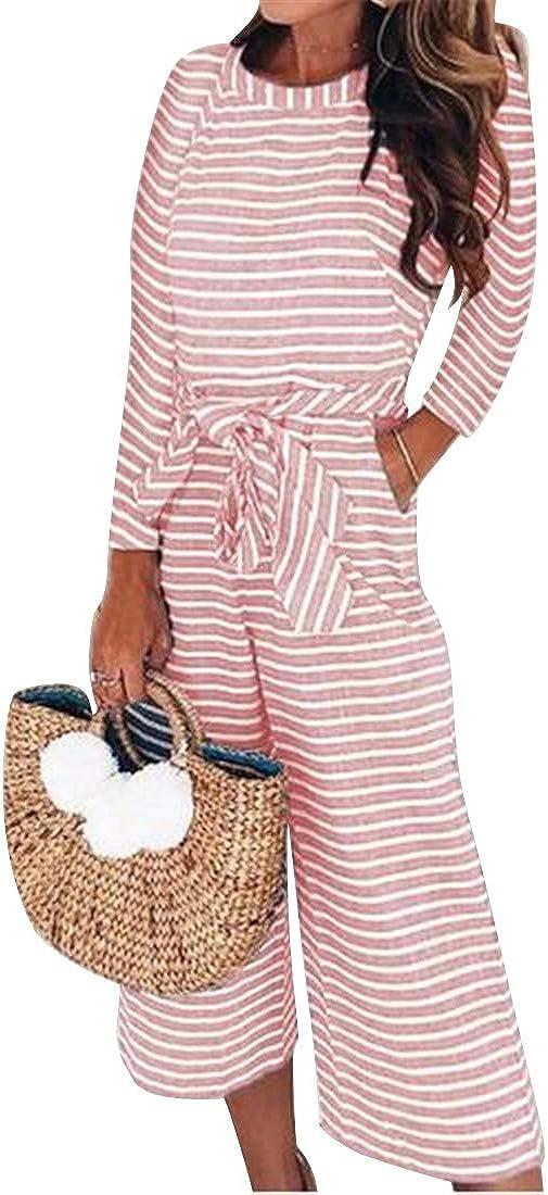 YYG Women Stripe Print Long Sleeve Lace Up Bandage Slim Round Neck Club Jumpsuit Romper