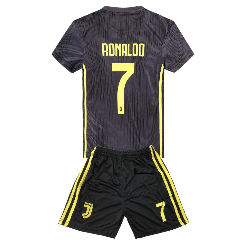 f772b08ba62 Ronaldo  7 Juventus 2018-2019 Season Away Kids   Youth Soccer Jersey    Shorts