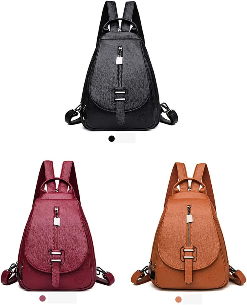 Fashion Trend PU Leather Color : Red, Size : 25cm32cm9cm Black//red//Brown Haoyushangmao Girls Multifunctional Backpack for Daily Travel//Tourism//School//Work//Fashion//Leisure