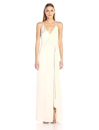 HALSTON HERITAGE Women's Sleeveless V Neck Satin Slip Gown with Sash, Cream, 0