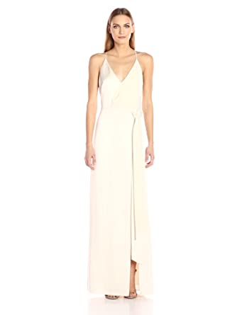 a5e1ef7d261a Halston Heritage Women's Sleeveless V Neck Satin Slip Gown with Sash,  Cream, ...