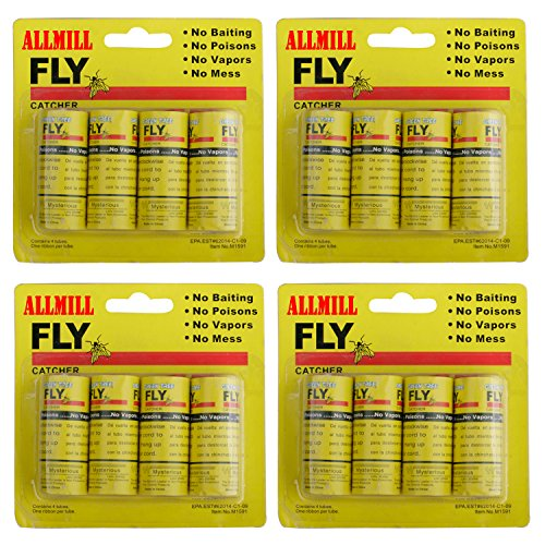 ALLMILL Fly Paper Ribbon, Fly Catcher Trap,Sticky Fly Ribbons, Fly Bait,Fly Trap, Super Value 16PCS